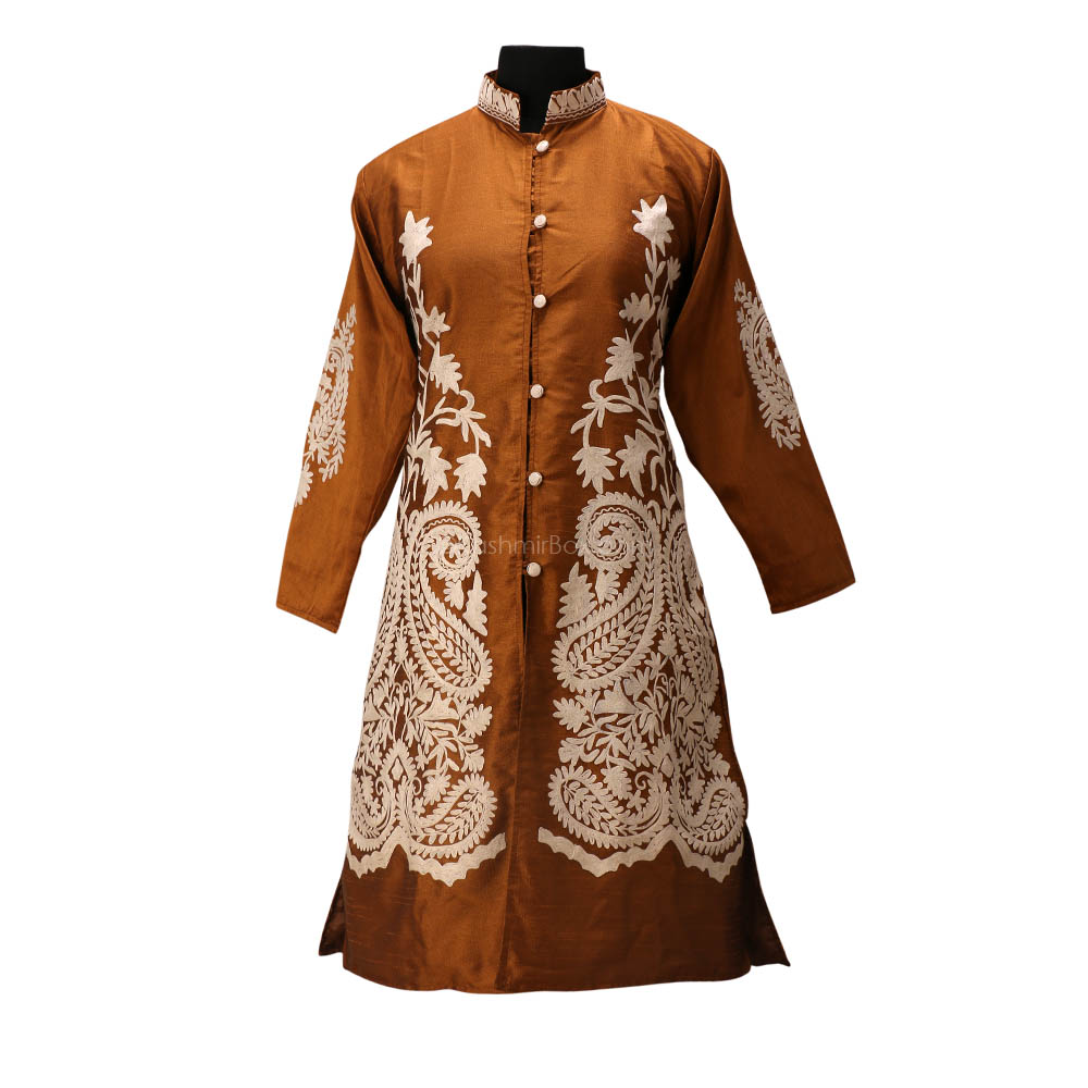 Brown Aari Embroidered Silk Jacket