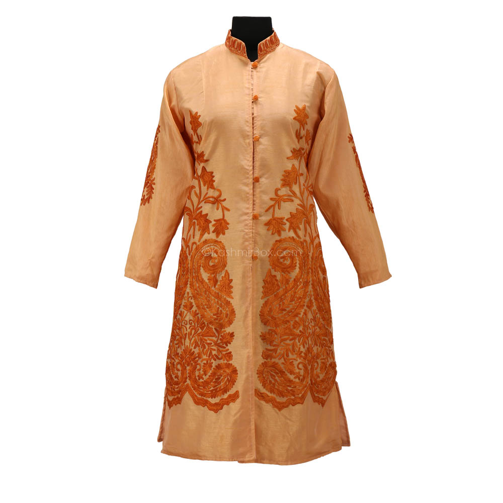 Khaaki Aari Embroidered Silk Jacket