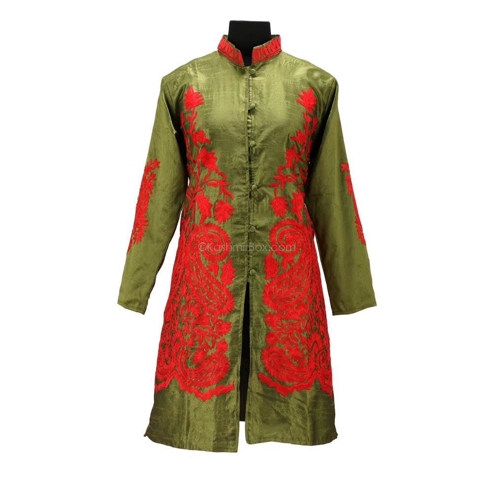 Pine Green Aari Embroidered Silk Jacket