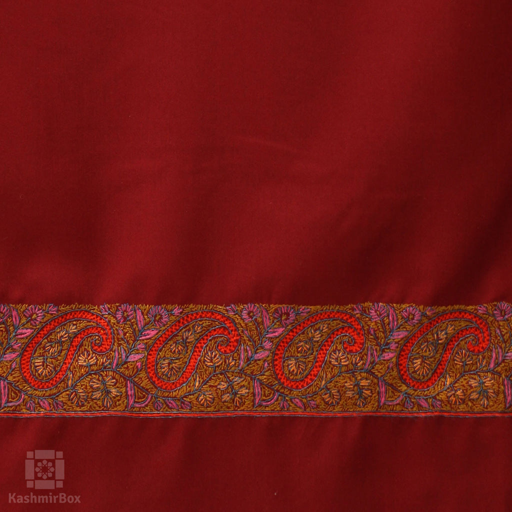 Maroon Sozni Embroidered Cotton Suit - Kashmir Box