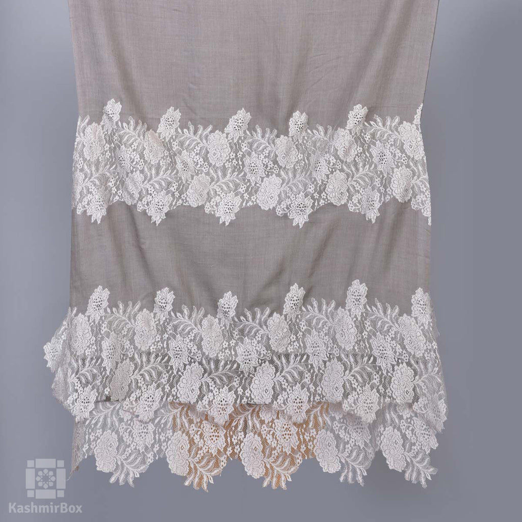 Grey Laced Summer Cashmere Stole