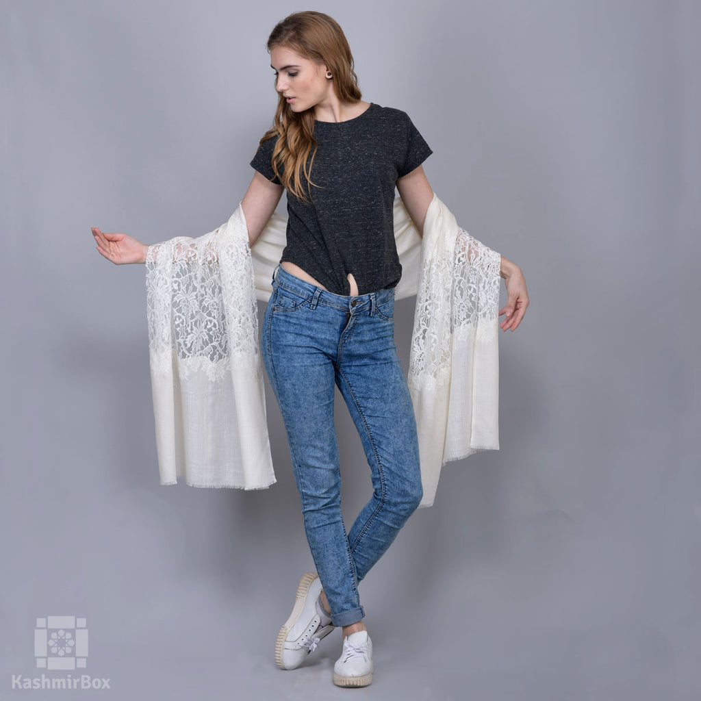 White Floral Laced Summer Stole - Kashmir Box