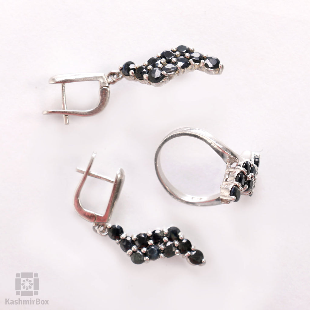 Curvy Silver Ring and Earrings Set