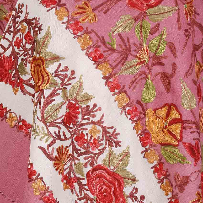 Floral Pink Embroidered Stole