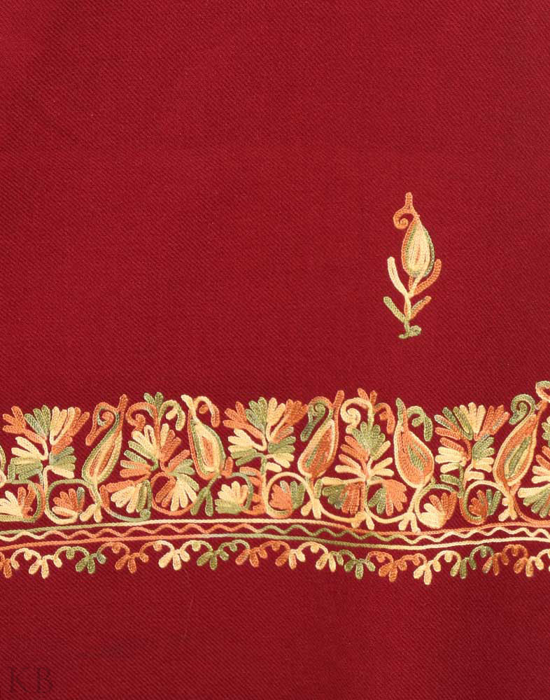 Jam Red Aari Work Cashmilon Shawl - Kashmir Box