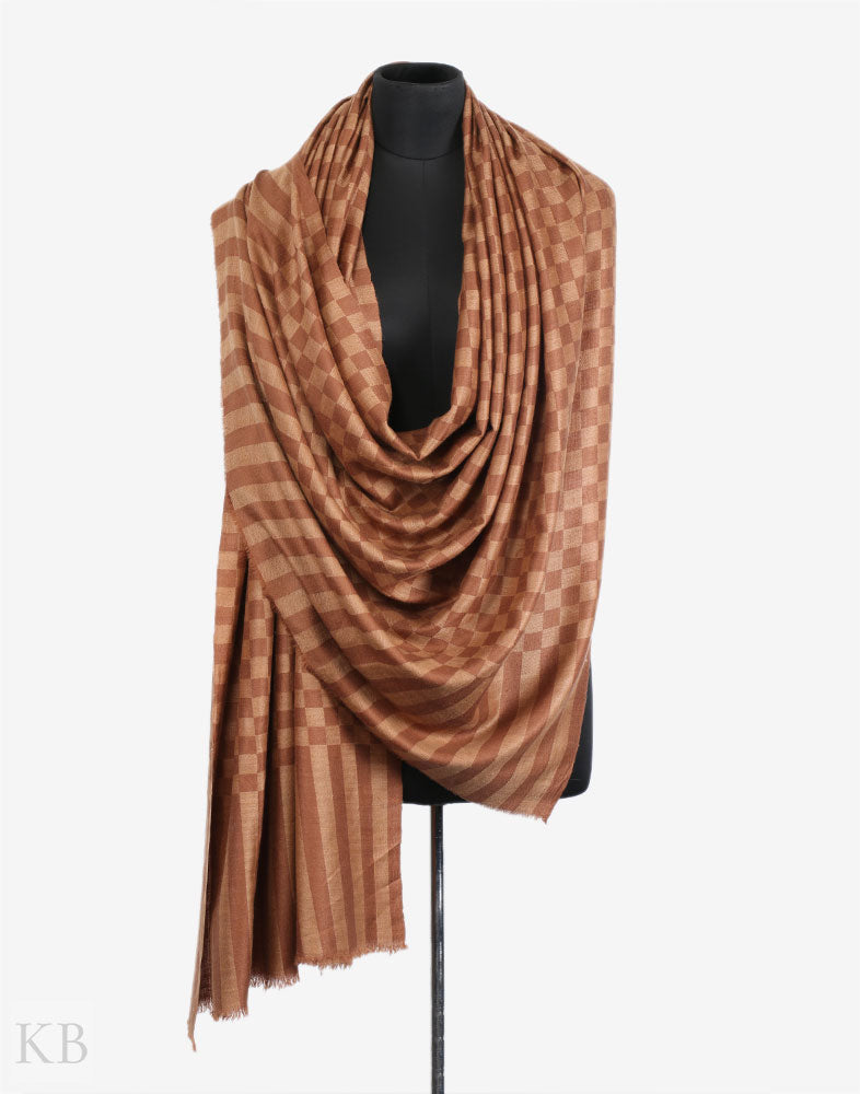 Hues Of Brown Check Cashmere Pashmina Shawl