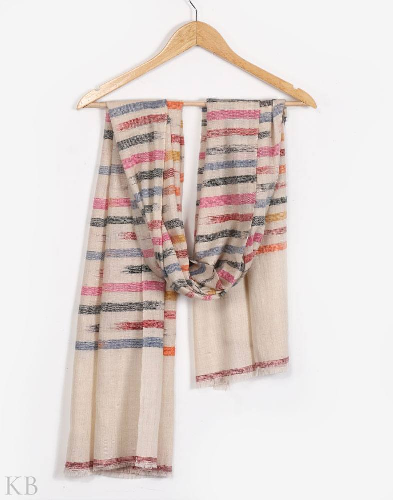 GI Certified Rainbow Lines Cashmere Pashmina Stole