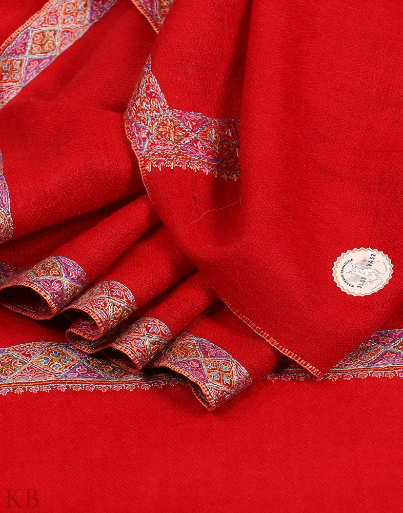 GI Certified Red Embroidered Cashmere Pashmina Shawl
