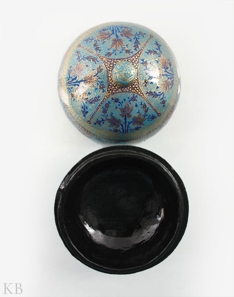 Blue Paper Mache Round Box - Kashmir Box