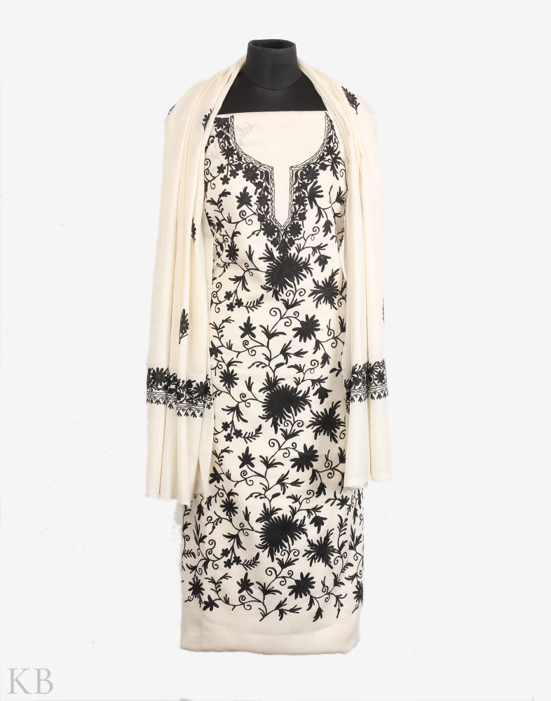 Black And White Floral Embroidery Woolen Suit