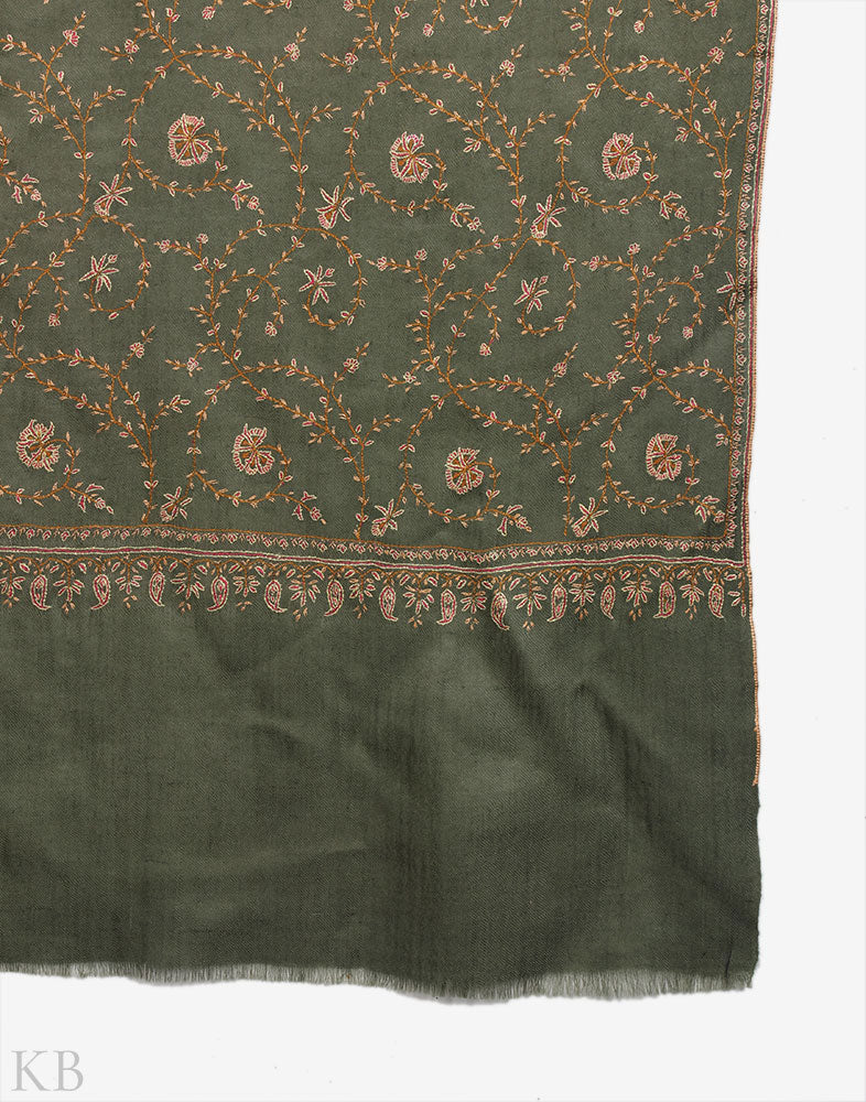 Mossy Jaalidaar Sozni Embroidered Cashmere Pashmina Stole