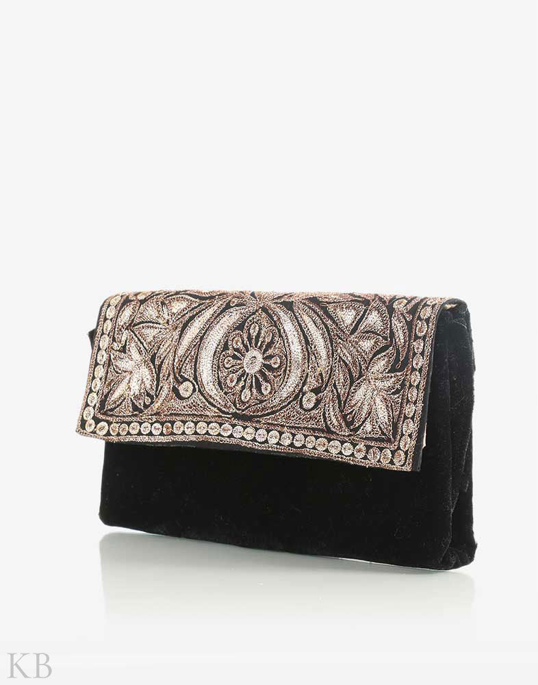 Black Silvery Tilla Embroidered Clutch