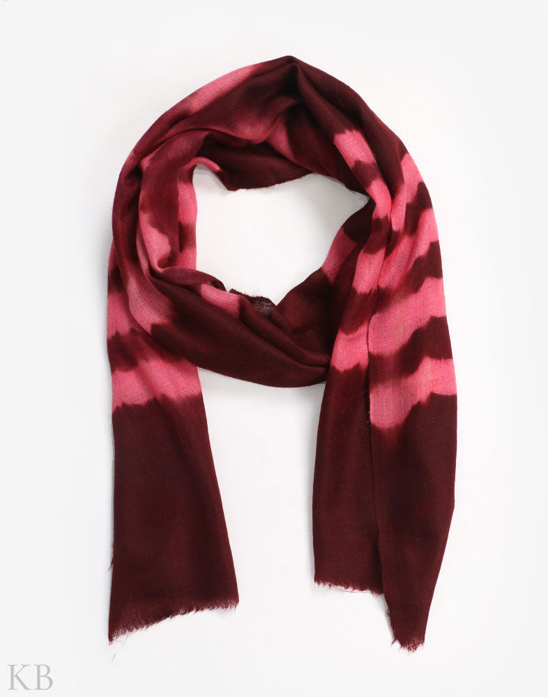 Red And Pink Dip Dye Cashmere Pashmina Scarf