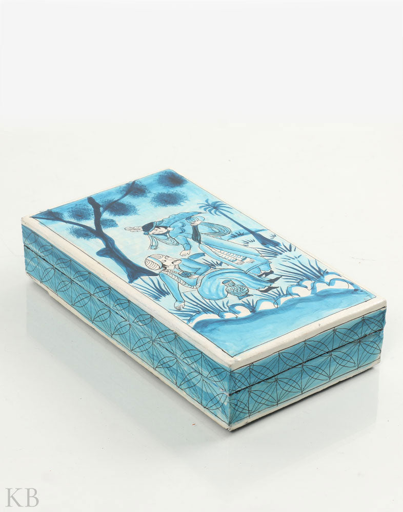 The Emperor Blue Paper Mache Flat Box - Kashmir Box