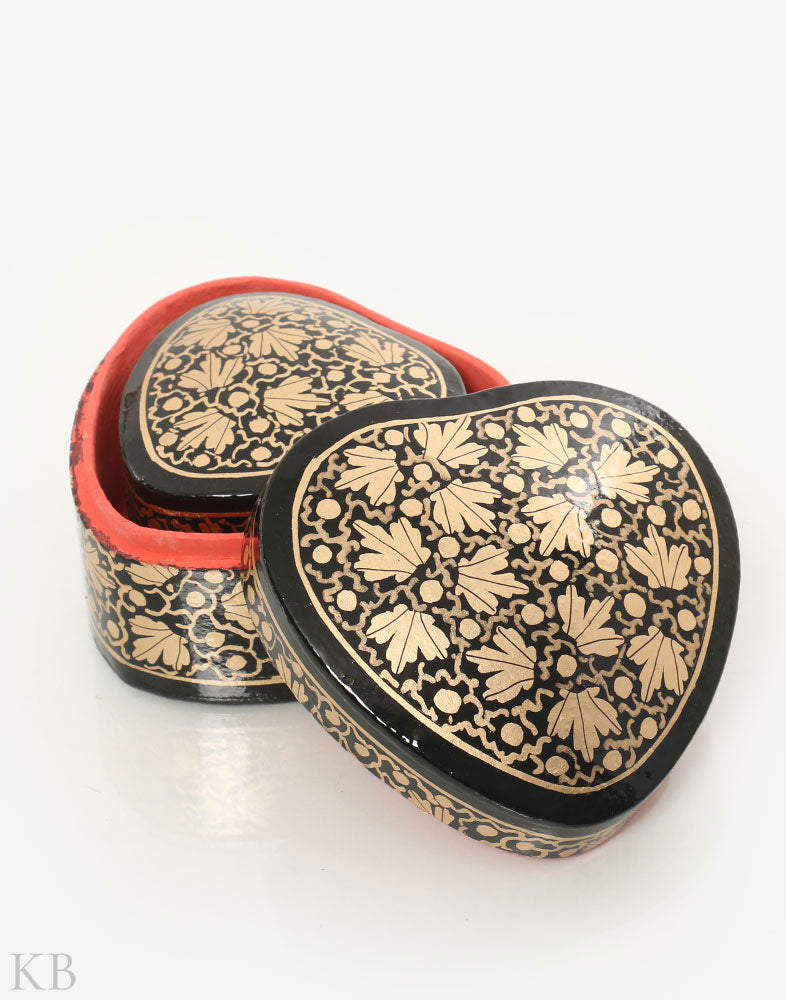 Black Chinars Heart Shaped Paper Mache Box (Set of 2) - Kashmir Box