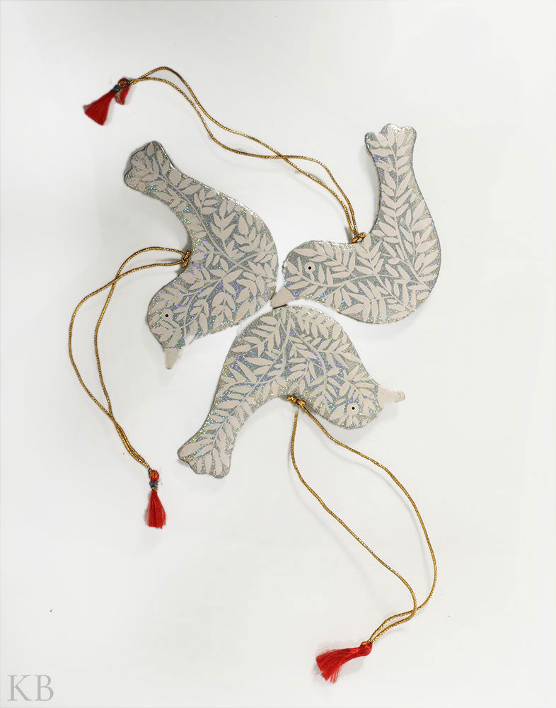 Silver Paper Mache Birdie Hangings (Set of 3) - Kashmir Box