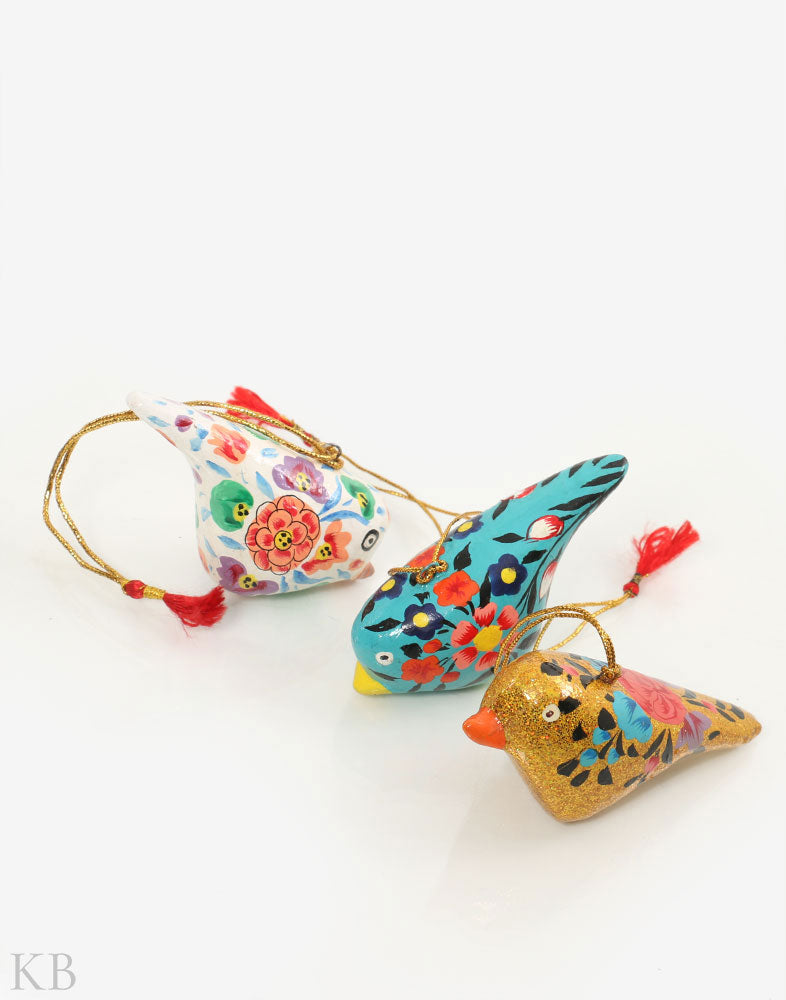 Multicoloured Paper Mache Birdie Hangings (Set of 3) - Kashmir Box