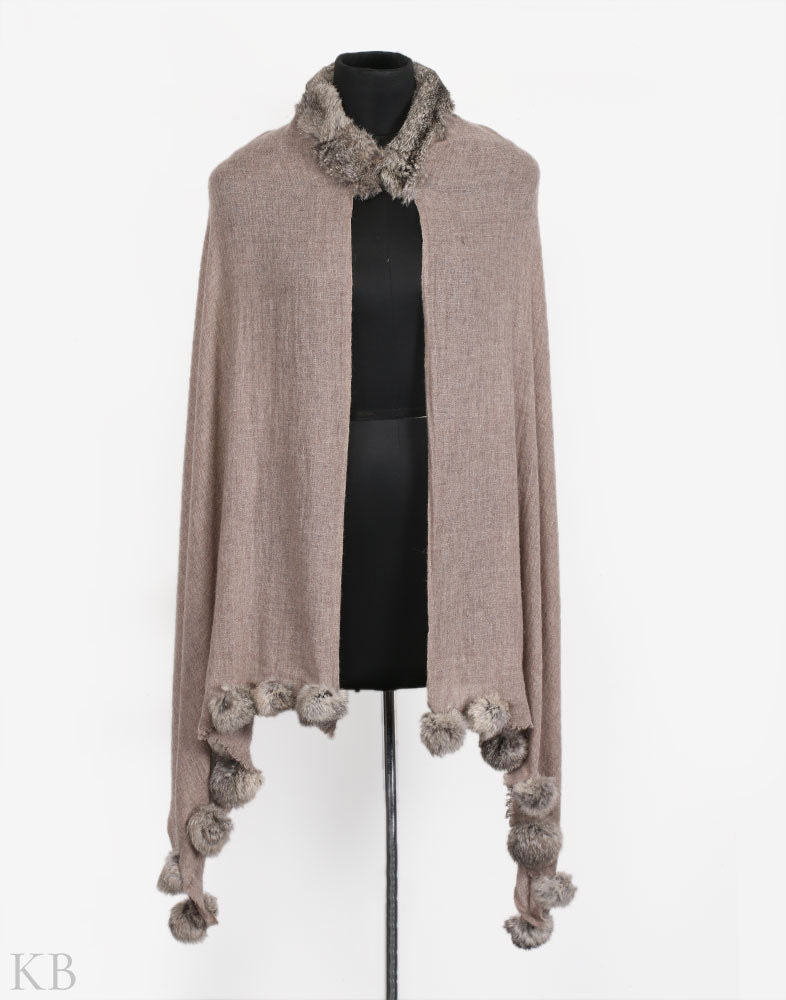 Sugar Cookie Fur Trim Woolen Wrap