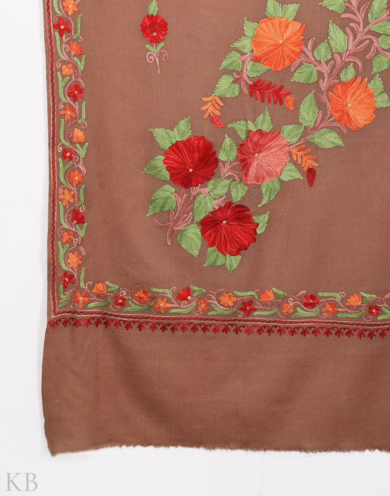 Latte Tan Kashida Embroidery Woolen Shawl - Kashmir Box