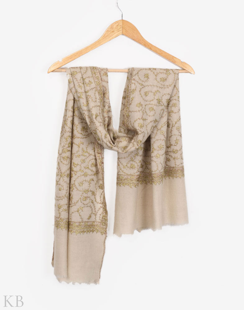 Cream White Hand Embroidered Stole