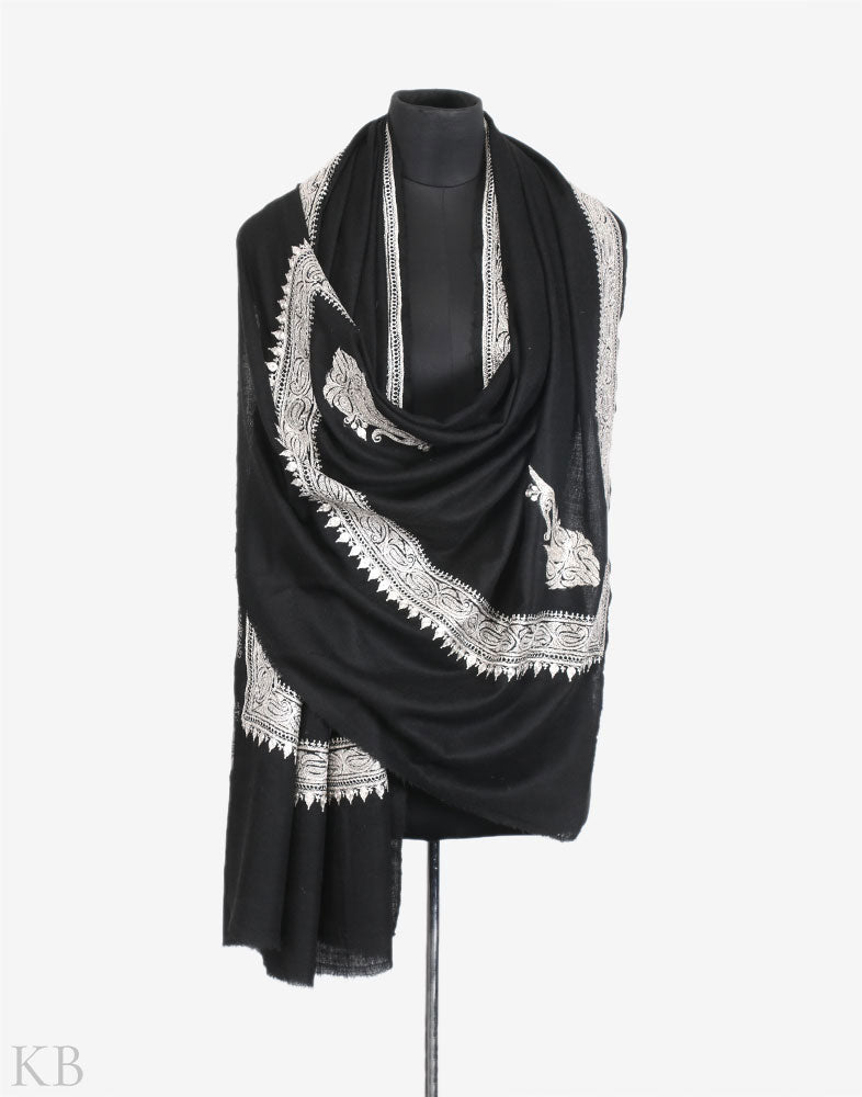 Black Hand Embroidered Cashmere Pashmina Shawl