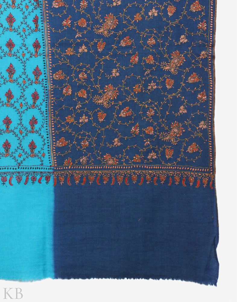Blue Hues Hand Embroidered Woolen Shawl