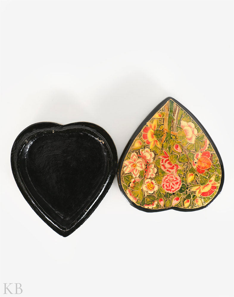 Black Heart Shaped Paper Mache Box