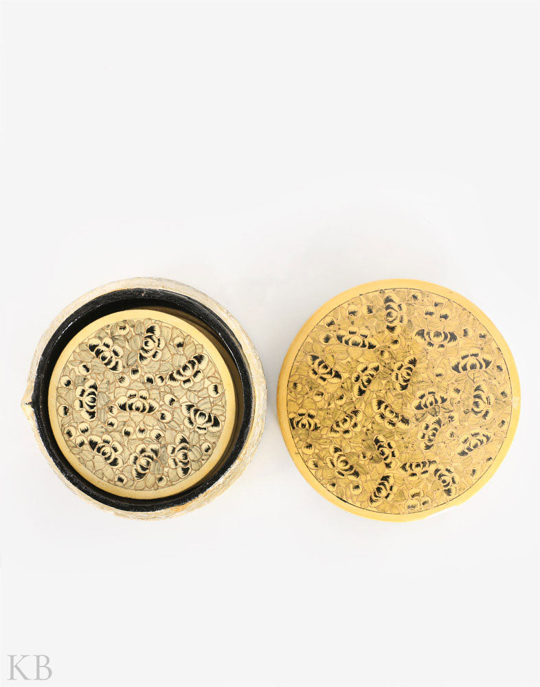 Yellow Black Round Coaster Set (6 pieces) - Kashmir Box