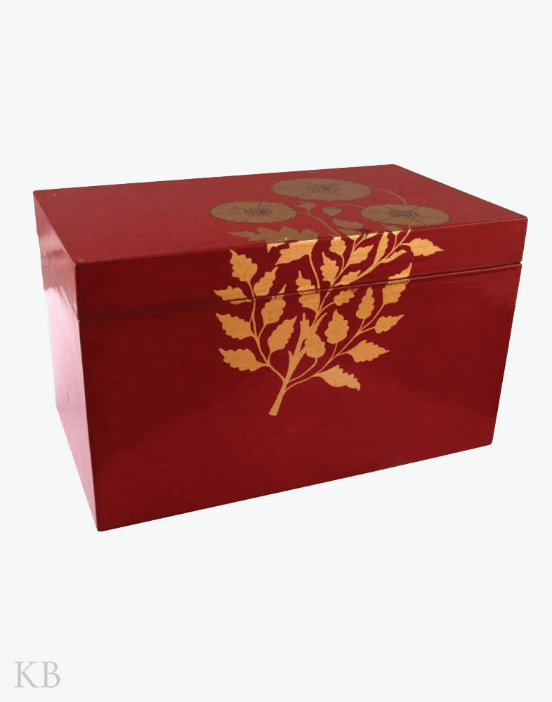 Paper Mache Crafted Mughal Pop on Red Storage Box - Kashmir Box