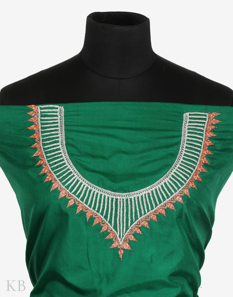 Emerald Hand Embroidered Silk Suit