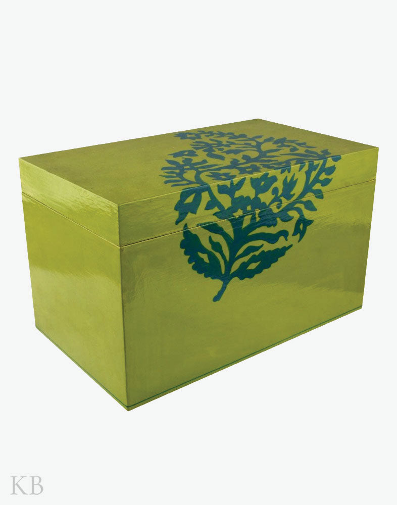 Paper Mache Crafted Big Green Storage Box