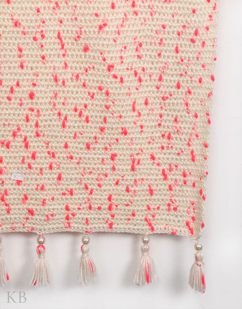 Pink And White Crochet Wrap