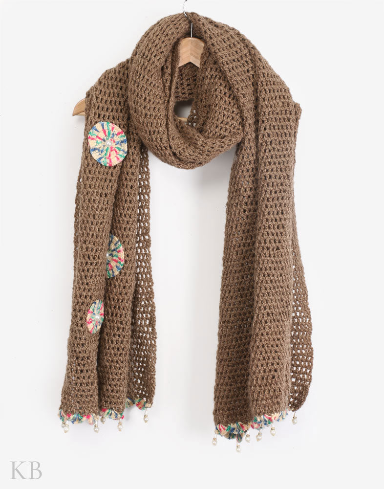 Earthy Brown Crochet Wrap