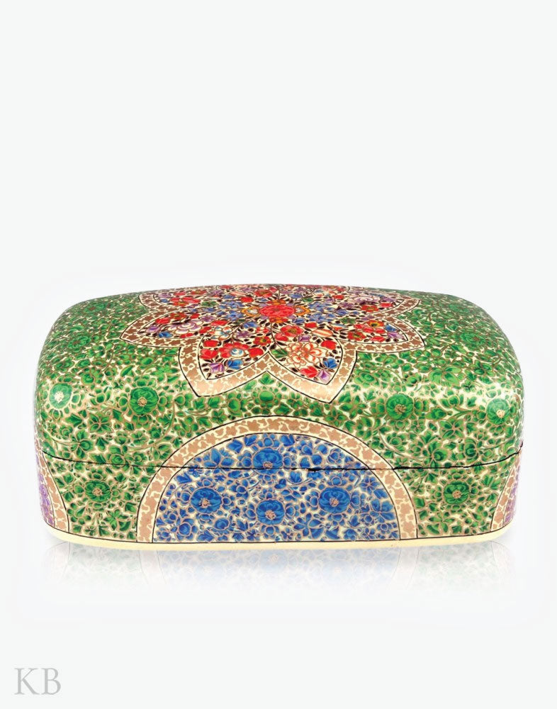 Paper Mache Green Meter Box - Kashmir Box