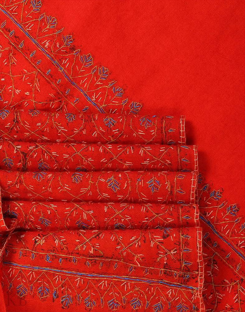 Fire Orange Sozni Embroidered Woolen Shawl