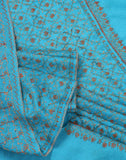 Cerulean Sozni Embroidered Woolen Shawl