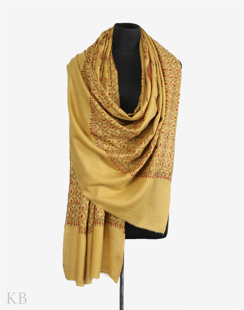 Dijon Yellow Sozni Embroidered Woolen Shawl
