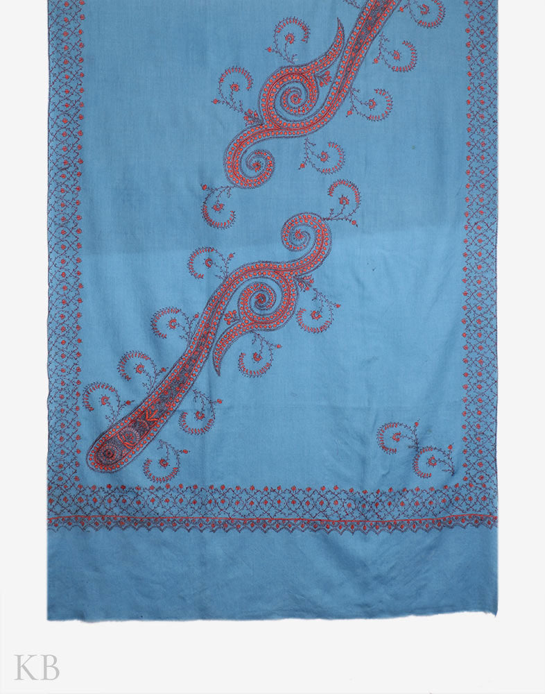 Aegean Blue Sozni Embroidered Woolen Shawl