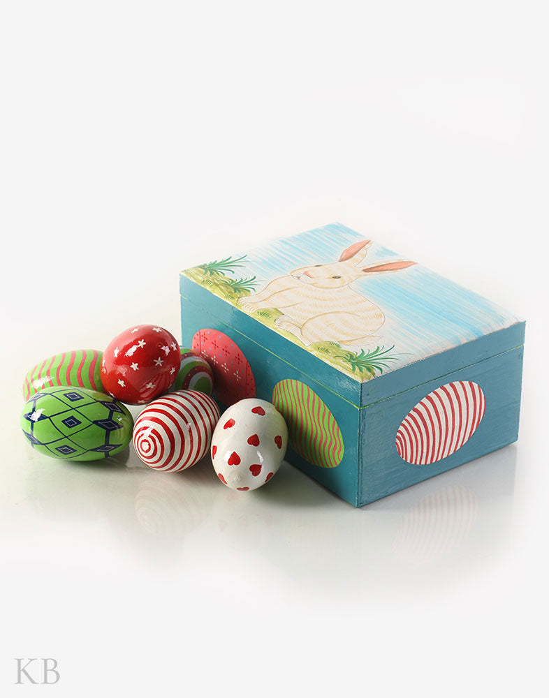 Prismatic Handpainted Paper Mache Decorative Eggs - Kashmir Box