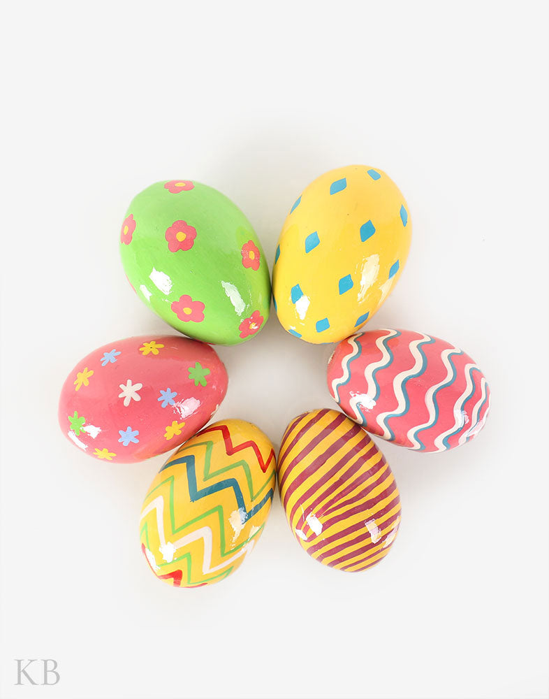 Polychrome Paper Mache Decorative Eggs