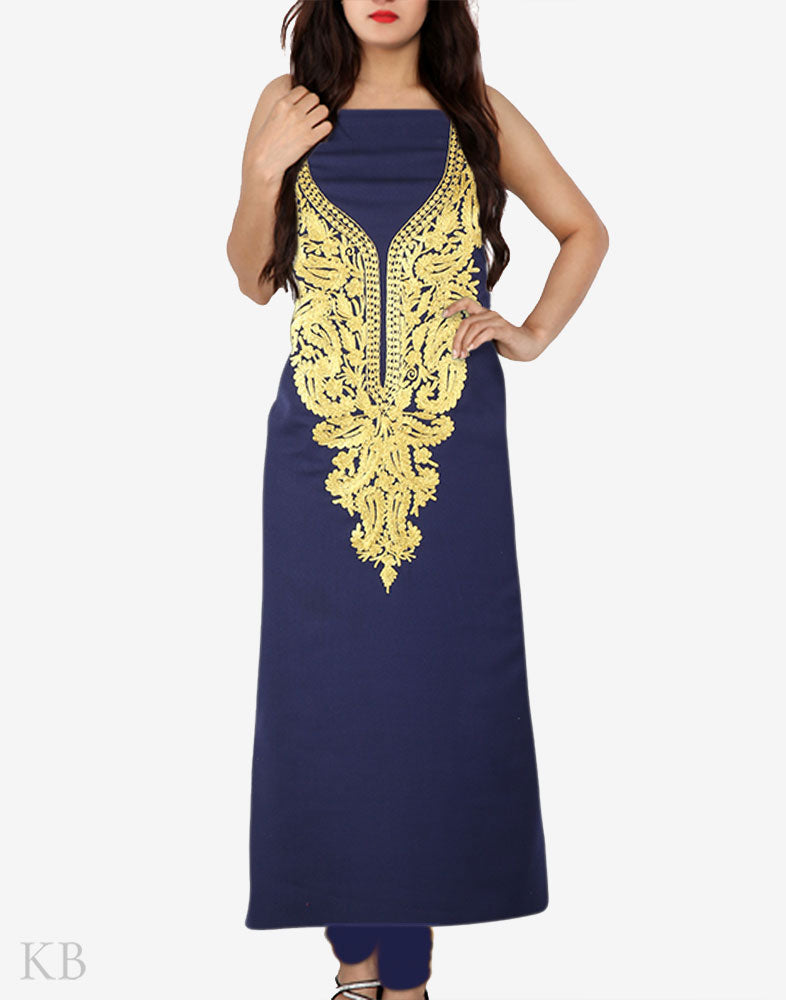 Navy Blue Gold Tilla Embroidered Cotton Suit