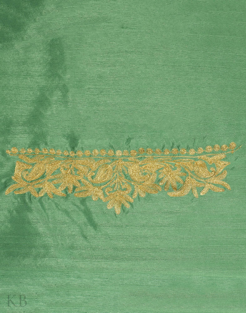 Olive Green Tilla Embroidered Silk Suit