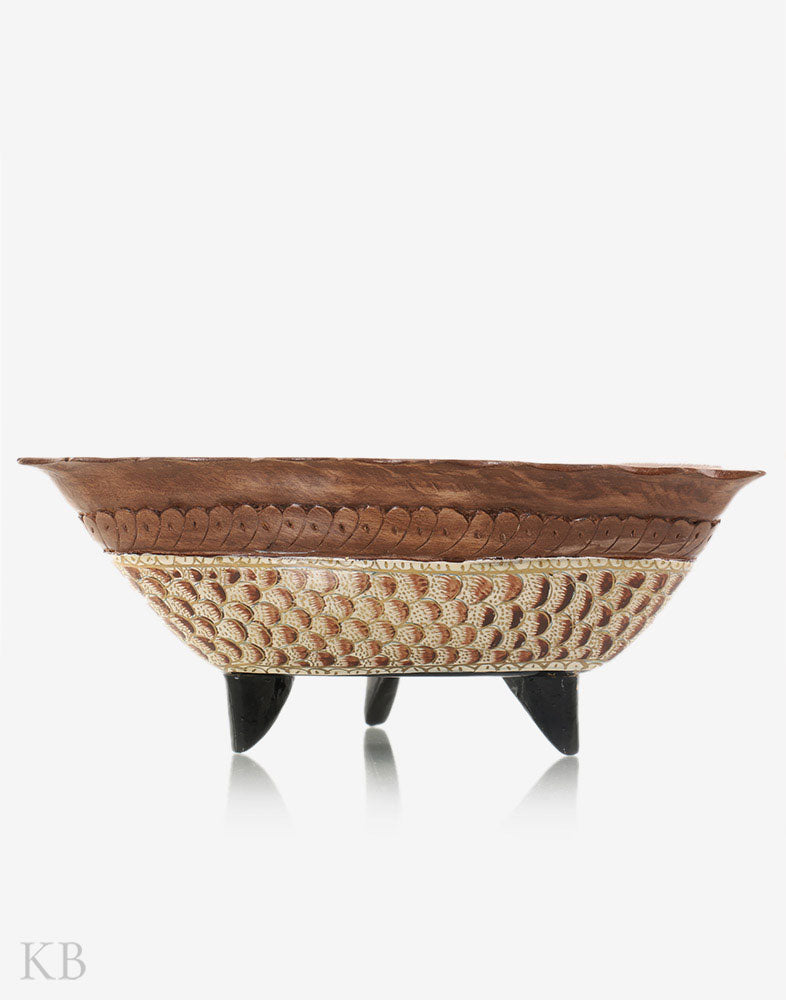 Herringbone Hancrafted Walnut Wood Fusion Bowl