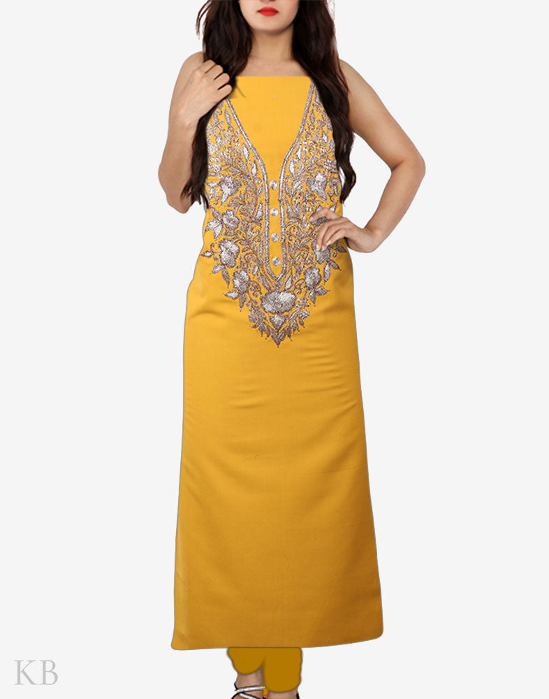 Yellow Tilla Embroidered Cotton Suit