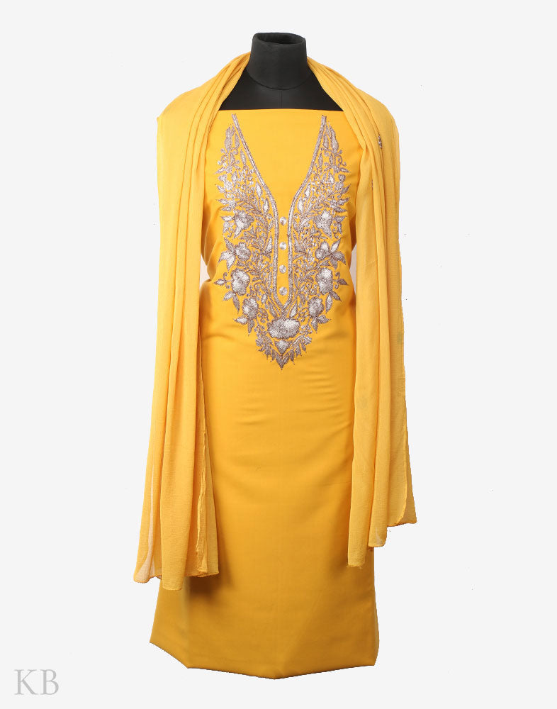 Yellow Tilla Embroidered Cotton Suit - Kashmir Box