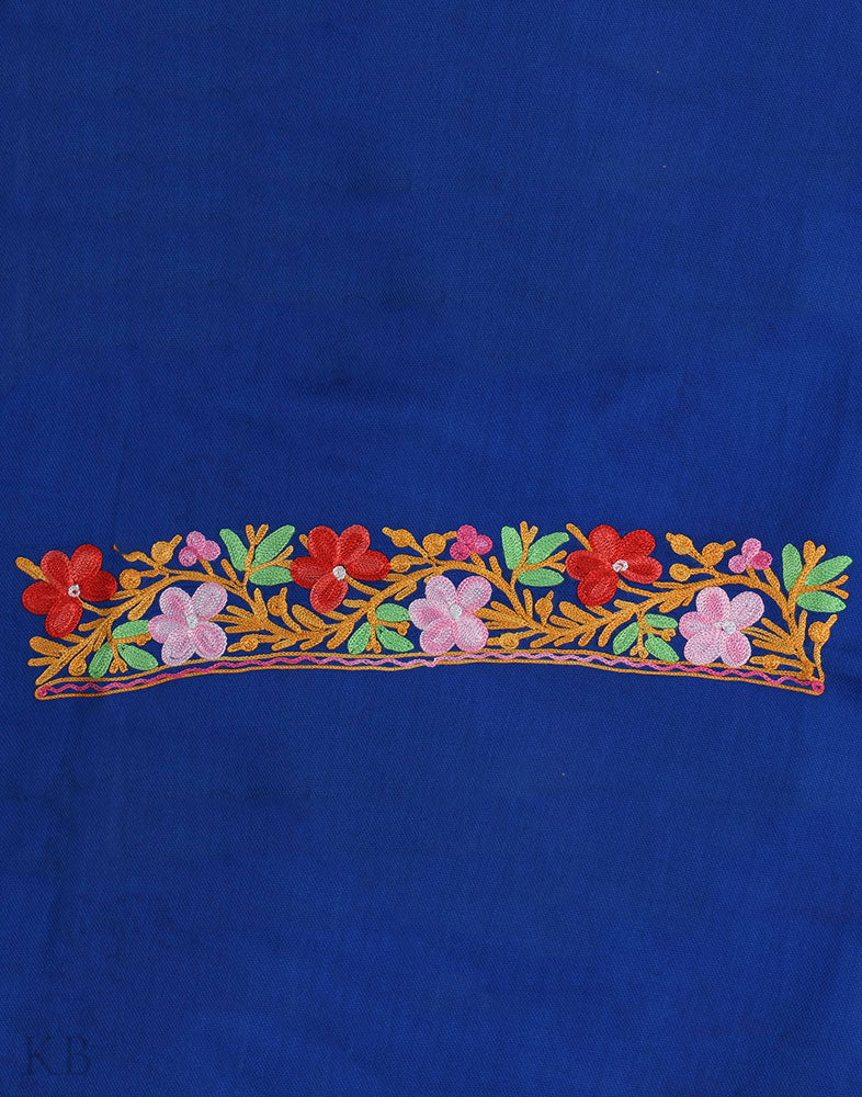 Blue Flower Aari Embroidered Cotton Suit