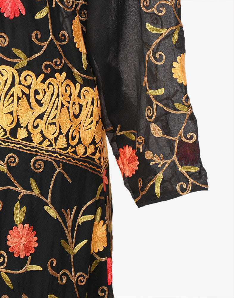 Black Silk Lined Aari Embroidered Georgette Dress - Kashmir Box