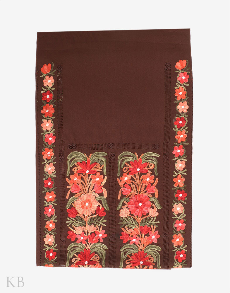 Chocolate Brown Cutwork Embroidery Cotton Suit
