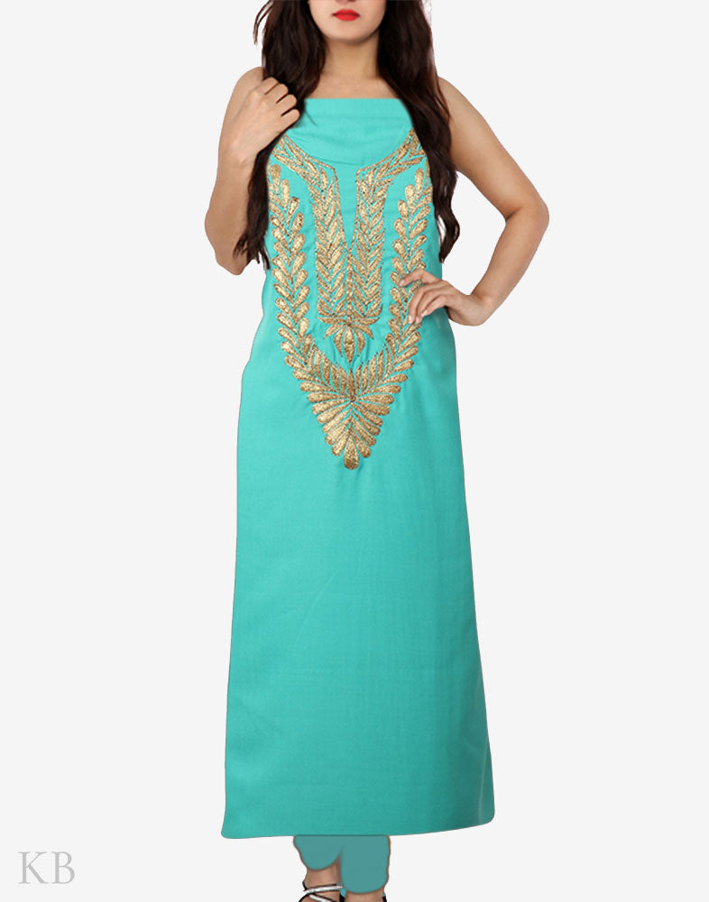 Sea Green Tilla Embroidered Cotton Suit