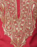 Scarlet Red Tilla Embroidered Cotton Suit